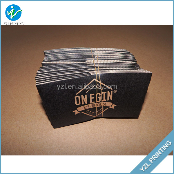 Black double wall hot coffee paper cup sleeve with logo design