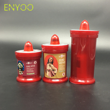 Custom Religious Activities Flameless Red Plastic Church Pray LED Candles