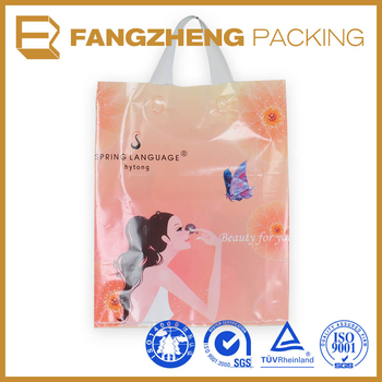 wholesale custom printed logo plastic loop Handle shopping bag
