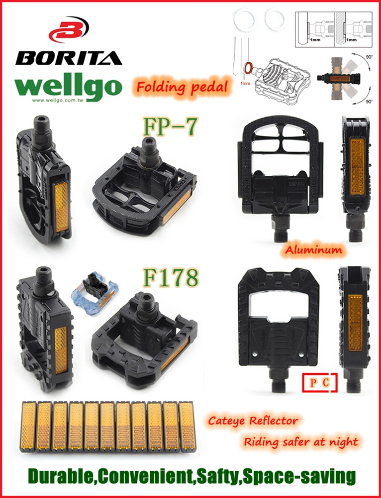 Wellgo F178 Cheap Wholesale Folding Bike Pedal Colorful High Quality Bicycle Pedal