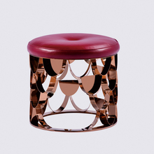 Goolee Fashion Design Metal Round Upholstered Leather Ottoman