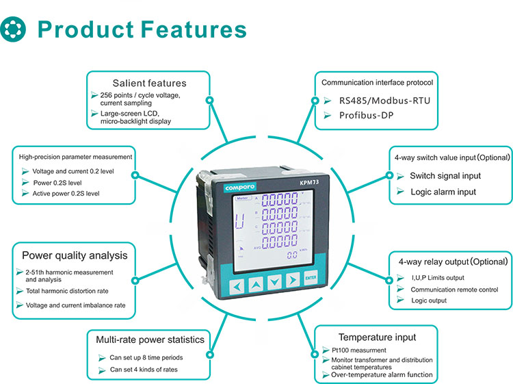 Smart electricity meter RS485 port modbus-RTU digital multifunction electric power meter with LCD display