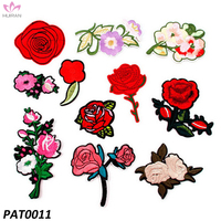 11pcs Stickers For Clothes Badge Sewing Fabric Applique Supplies Iron On Patch Sewing Rose Flower Embroidered Patch