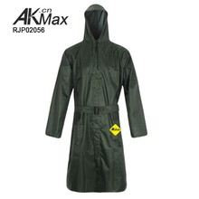Olive Green Polyester Hooded Waterproof Raincoat With Mesh Layer Inside