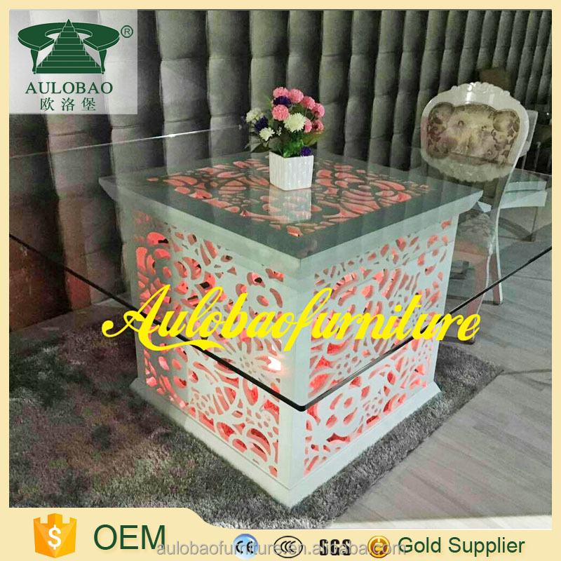 Led light stainless steel wedding banquet table model dining table with price for sale