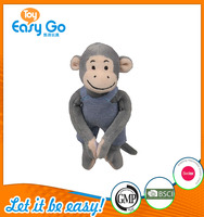 good sale high quality customized production super cute grey monkey in jean clothes soft plush toy