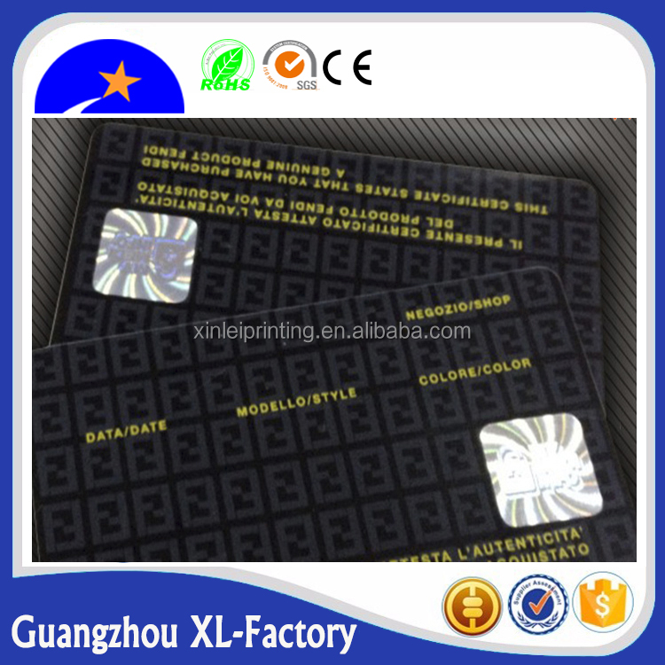 Guangzhou new inkjet pvc chip card with magstrip and hot stamping hologram label making professional
