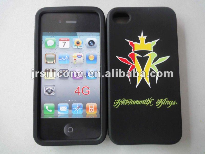 Supply Silicone skin case for mobile phone/Logo printed for iphone 4