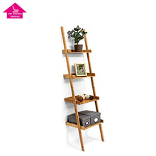 High Quality Wooden Wall Shelf Ladder Bookcase with 4 Shelves