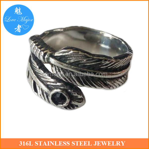 Vintage Casting Indian Style Stainless Steel Ring Fashion Jewelry Feather Design