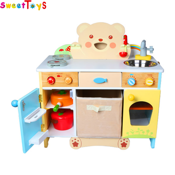 2018 Wholesale kids toy wooden kitchen play set pretend play children white wooden toy kitchen play set