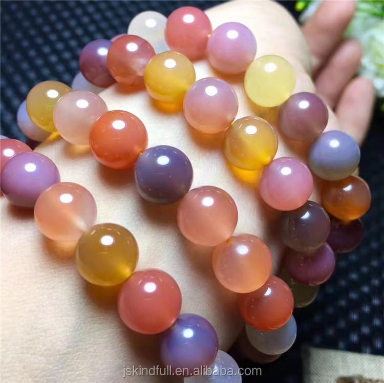 Wholesale Most Popular Natural Salt Sources Agate Bracelet Colourful crystal Single circle Agate Beads Bracelet For Womens