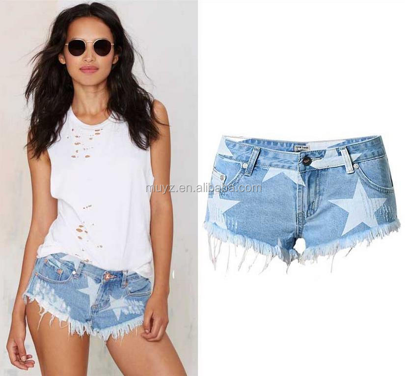 L0219A fashion european designs floral printed short jeans women mini denim shorts