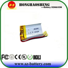 Wholesale Rechargeable batteries 602040 3.7v 420mAh Lithium Polymer Battery