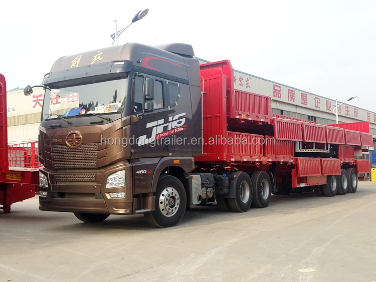 2 /3 axle remolque sidewall semi trailer with turntable dolly fence wall trailer hot sale