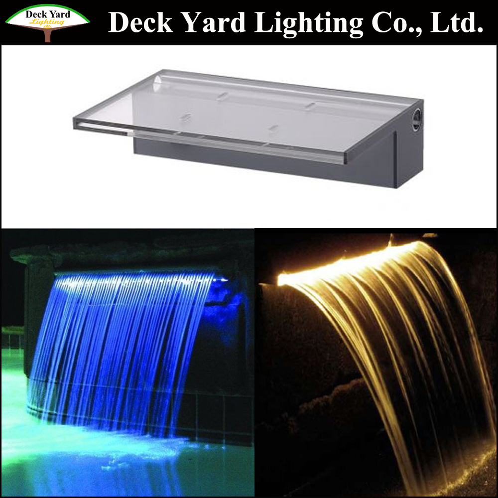 Outdoor garden landscape waterfall fountain for garden pond Extended lip Acrylic Sheer Descent waterfall with LED lighting
