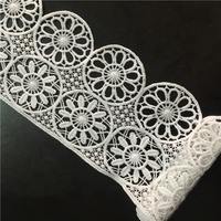 White crochet guipure garment water soluble lace with polyester material embroidery geo chemical lace