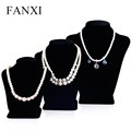 FANXI Chinese Factory Wholesale Custom Elegant Black Velvet Mannequin Jewelry Display Standing Bust Necklace Display Stand