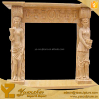 Classical Statue Marble Fireplace Mantel With Stone Figure