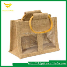 Jute handle bag with windows