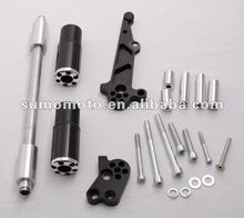Motorcycle Frame Sliders Crash Protectors for GSX 650F 2008- No Cut Silver End Cap Carbon Fiber 950-5010
