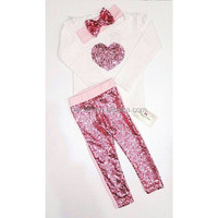 Valentines Day clothes sets girl raglan pink heart shirts with icing baby pants little girls first birthday outfits