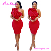 Latest red bodycon bandage one shoulder party short dress