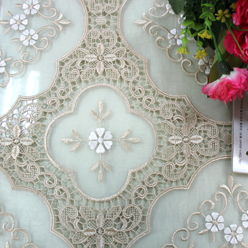 Oriental lace tablecloth with the organza