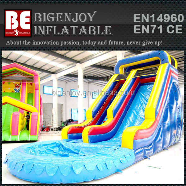 Cheap Commercial use Giant Inflatable Water Slide with Pool