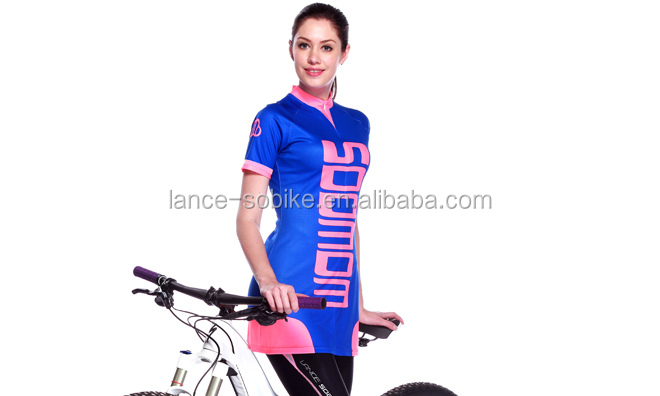 China Cheap Wholesale Women's New Design Blue/Pink Printed Fashion Fitted Cycling Dress Women's Cycling Long Fitted T-Shirt
