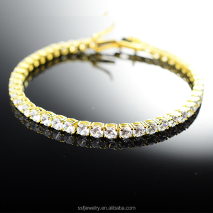 2017 wholesale jewelry smart bracelet cz crystal 925 silver tennis gold bracelet for men