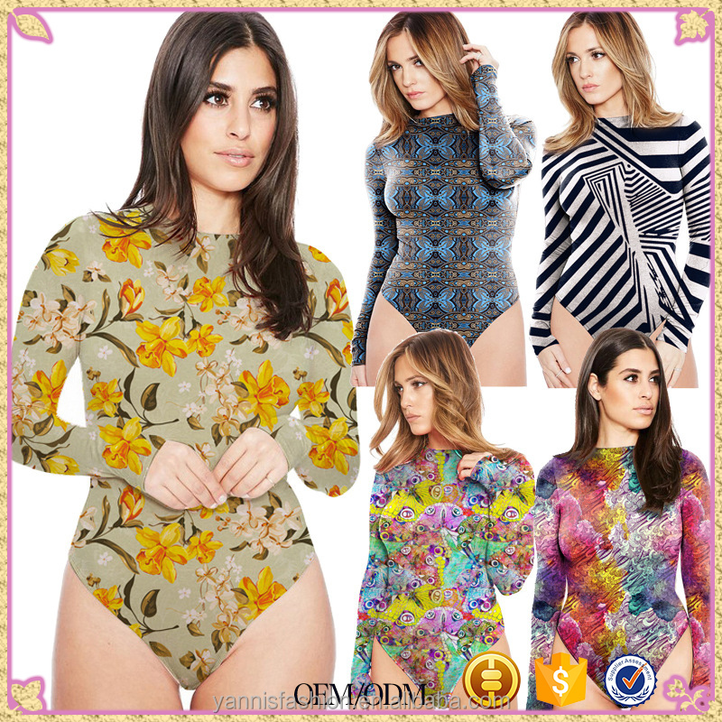 Floral Print Long Sleeves Bodysuit Casual 2017 Playsuit Pullover O Neck Button Rompers Slim Overalls Sexy Women Jumpsuit E3122