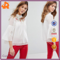 OEM white casual chiffon blouse,neck design of blouse with embroidery