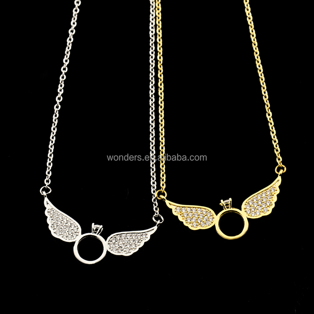 Rose Gold Plated Flat Ring Wing Angel Necklace Gold plated popular necklace Zirconia Jewelry For Women