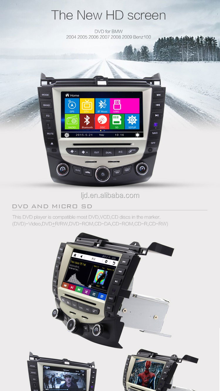 double din HD screen wince car gps dvd player Hond a dashboard placement with rearview camera
