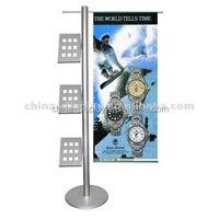 Supermarket use adjustable Banner Holder poster display stand,metal display stand hot sale single sided floor stand