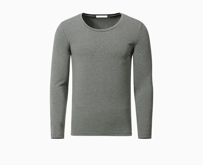long sleeve wholesale grey bulk blank men's cheap round bottom t shirt bamboo 60% cotton 40% polyester t-shirts