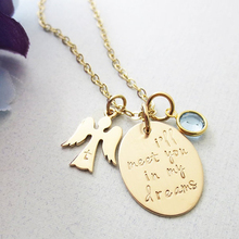 Wholesale 18K gold necklace angel,personalized memorial jewelry gold necklace angel