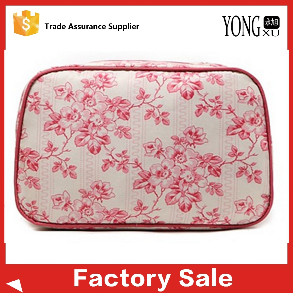 2015 new style fashion 420D polyester travel cosmetic bag, flower printing travel toilwetry case, womens travel makeup case