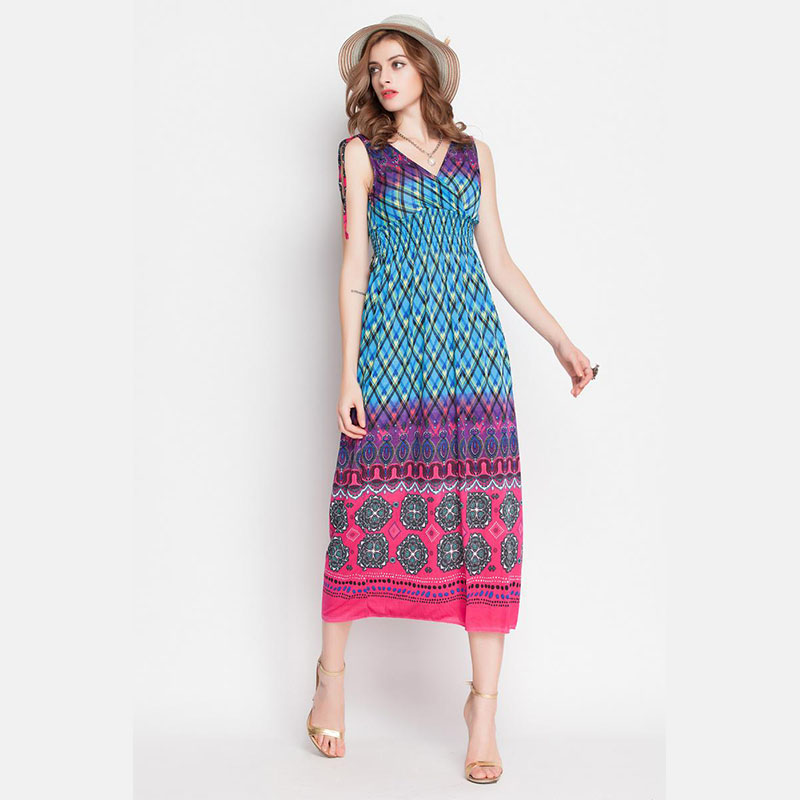 Get Quotations · Bohemian V-Neck Dress Sexy Strapless Dress Slim Waist Type  Sleeveless 2015 Summer Women Dress b2efb10b0d96