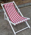wooden folding deck chair with pillow