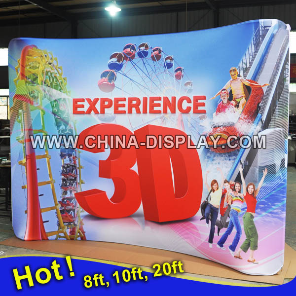 Slim profile tension fabric display system for exhibitiion tradeshow booth
