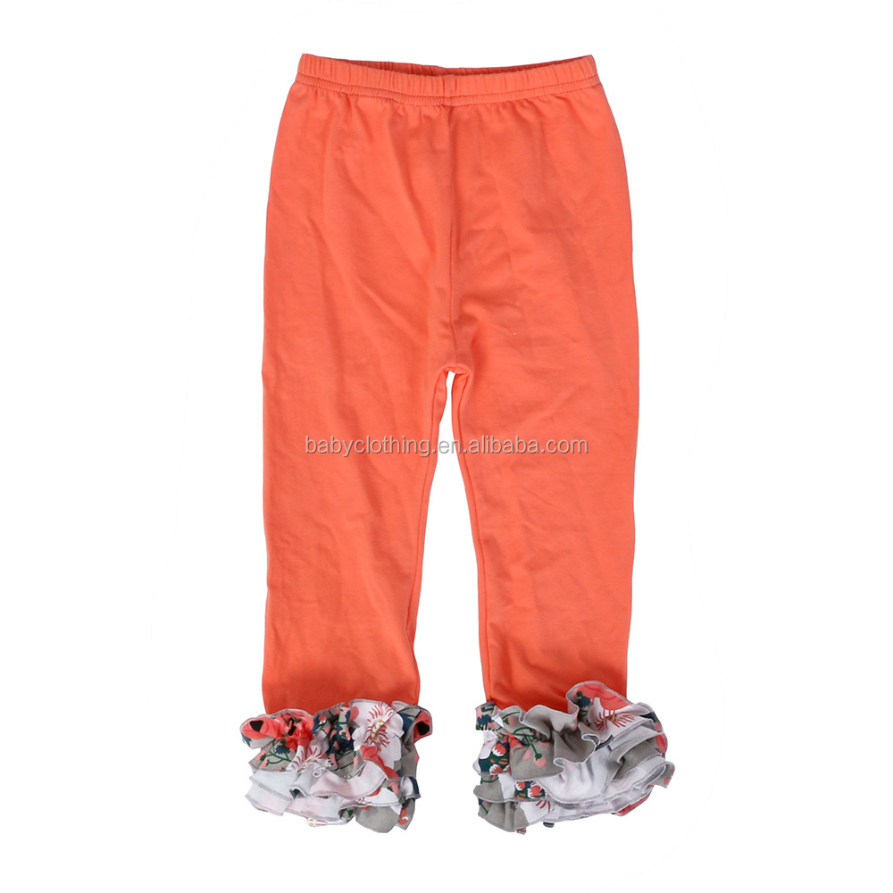 new arrival floral ruffle pants icing ruffle legging wholesale