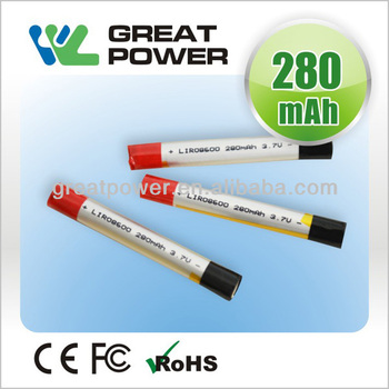 High quality 3.7V 280mAh 08600 li-ion battery