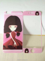 Brand QWD cartoon cute/lovely /beautiful girl tempered glass screen protector for iphone 0.3mm 9H