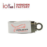 Hot Selling Computer Accessories Brand Embossed Leather USB Flash Drive