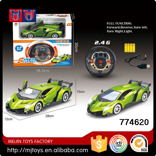 2.4G 1/16 scale green rc high speed car with rechargeable battery open car stlye front led light