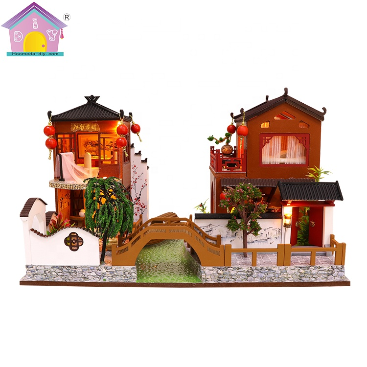 Popular 1 24 scale antiquity style wooden diy mini dollhouse miniature