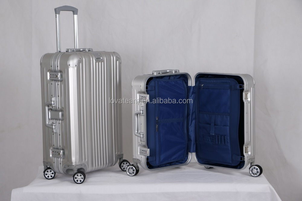 PET hard luggage suitcase travel trolley luggage aluminum frame luggage