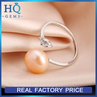 Latest freshwater pink pearl ring with micro zircon latest pearl ring design